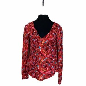 Lucky Brand Floral Print Top Red Multi Size XS